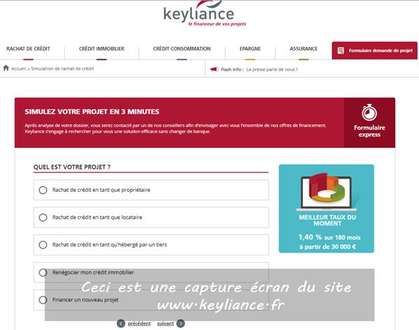 Simulation de rachat de crédits keyliance en ligne